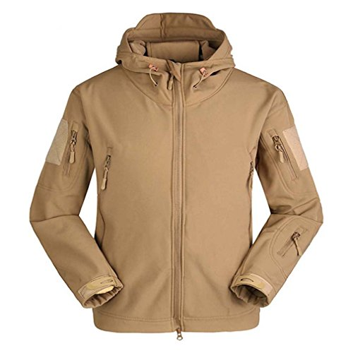 BIYLACLESEN Men's Thicken Tactical Jacket Water Resistant Military Hooded Jacket Khaki by BIYLACLESEN