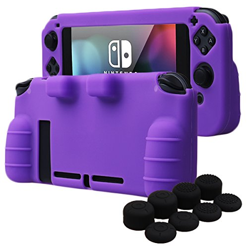 Purple Silicone Protective Case (YoRHa HAND GRIP Silicone Cover Skin Case for Nintendo Switch x 1(purple) With Joy-Con thumb grips x 8)