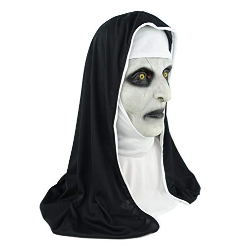 The Nun Valak Mask with Head Scarf V1 Scariest Halloween Masks White
