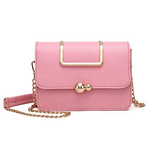 Handbag PU Color a Rosa catena chiusura a delle borse Crossbody donne Republe cerniera portatili metà ragazza Pure di spalla FBnqYw5XH