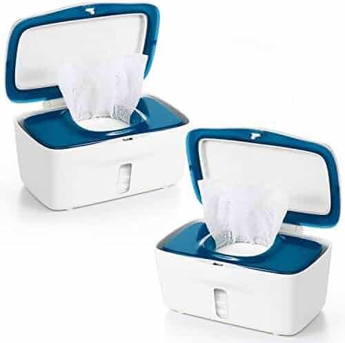 Diaper Wipes Dispenser Baby Wipes Case,Tissue Wipes Box Non-Slip Wipe Container Three-Layer Seal Design Prevent Moisture Loss,Easy Open /& Close Wipe Container White