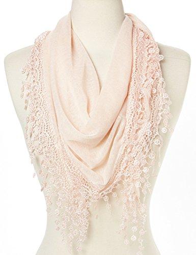 Flower Lace Silk-blend Scarf / Knit Oblong Cotton Scarf (L Pink)