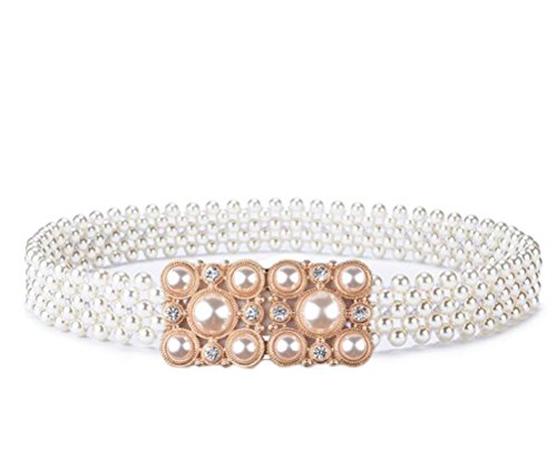 Nanxson(TM) Women's Classic Elegant Elastic Artificial Pearls Waist Band with Decorative Rhinestones Waist Belt PDW0134 (B) - Elastic Band Rhinestone