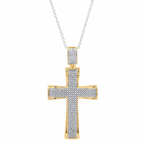 Dazzlingrock Collection 0.55 Carat (ctw) 10K White Diamond Men's Cross Pendant 1/2 CT (Silver Chain Included), Yellow Gold