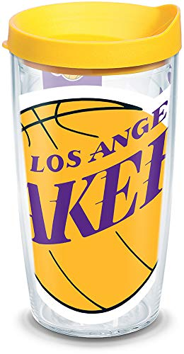 Tervis 1084535 NBA Los Angeles Lakers Colossal Tumbler with Wrap and Yellow Lid 16oz, Clear ()