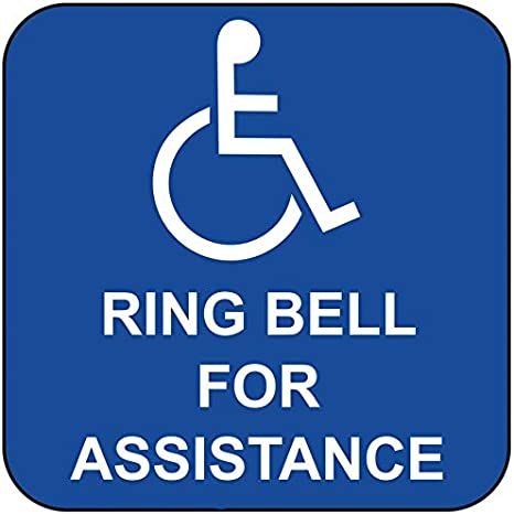 Disabled ring bell for assistance sign 5571WDKBL Disability awareness notices