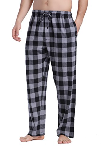 CYZ Men's 100% Cotton Super Soft Flannel Plaid Pajama Pants-BlackWhiteGingham-M