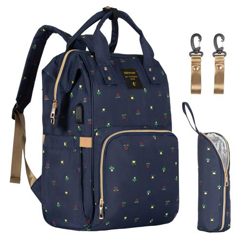 Upgraded Baby Diaper Bag Backpack with USB Charging Port, Multifunctional and Waterproof Maternity Bag, Stylish and Durable Nappy Bag for Mom and Dad, Navy with Flowers