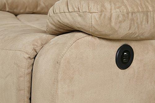 Relaxzen 60-701008M Massage Rocker Recliner with Heat and USB, Beige Microfiber