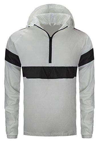 Grand Prix Jacket - ALMAS APPAREL Mens Hipster Hip HopPullover Half Zip-up Grand Prix Jacket (3X-Large, White-784)