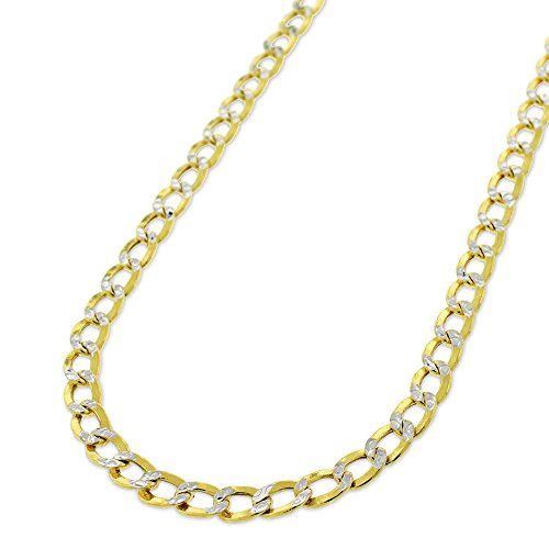 Two Chain Tone Link Gold - 10k Yellow Gold 4.5mm Hollow Cuban Curb Link Diamond Cut Two-Tone Pave Necklace Chain 18