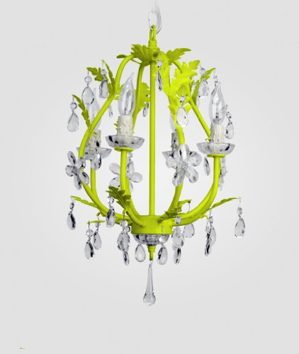 Phoebe 4-light chandelier: neon yellow with clear crystals (Light 4 Phoebe)