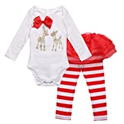 iiniim Infant Baby Girls Christmas Outfit Deer Romper with Striped Pants Set 3 Months