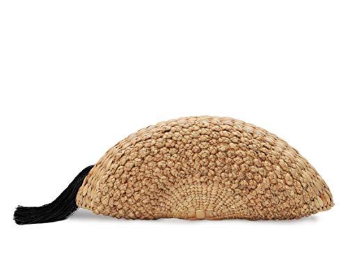 Vintage Handmade Knit Bamboo Rattan Straw Clutch Bag/Handbag With Tassel Drop (Black)