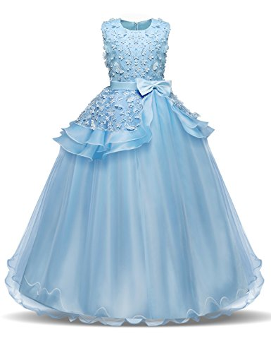 NNJXD Girl Sleeveless Embroidery Princess Pageant Dresses Prom Ball Gown Size (150) 9-10 Years Blue