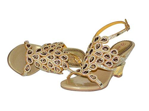 Sandals Evening Wedge Gold Slippers Doris Wedding Summer Shoes Fashion Pumps Rhinestone Dress Glitter Women's Oq857fqw