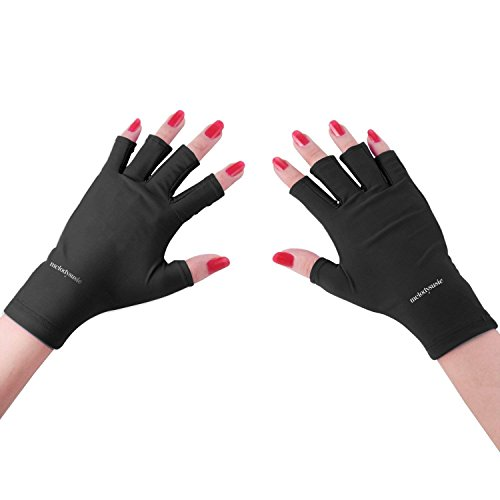 MelodySusie UV Shield Glove Fingerless Anti UV Glove - Protect Hands from UV Light for Gel Manicures with LED UV Gel Polish Drying Lamp (Classic Black)