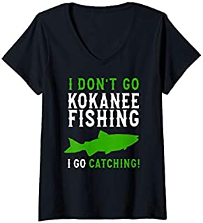 [Featured] Womens Kokanee Fishing - I Don't Go Fishing Kokanee Fisherman V-Neck in ALL styles | Size S - 5XL