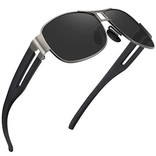 WOWSUN Classic Aviator Military Polarized Driving Sunglasses For Men   Ultralight Frame with 100% UV400 Protection Lens (Black Lens Gun Grey ()