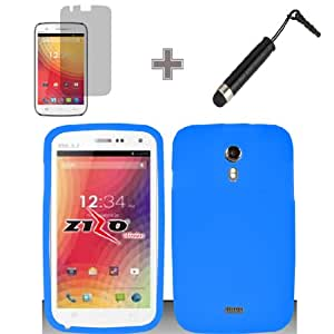 3-in-1 Bundle - Case, Screen Protector and Stylus Pen for Premium Silicone Cover Case - Blue - BLU Studio 5.0
