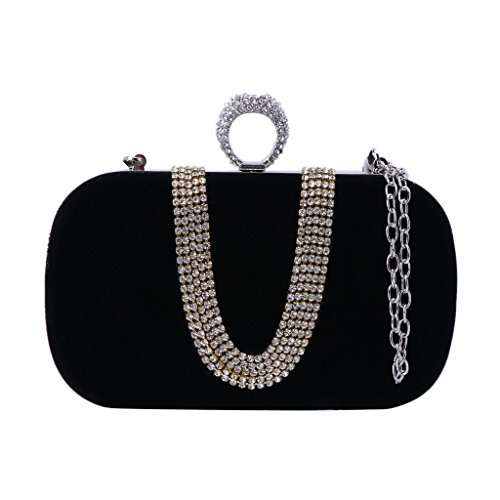 Handbag Wedding Bridal Blue Bag Women Elegant Evening Party Royal Black Clutch Glitter Banquet JAGENIE qwTU8nvq