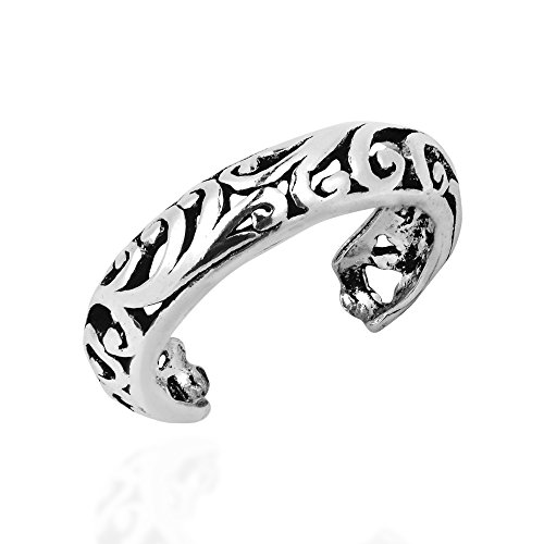 Swirl Open Ring (AeraVida Detailed Open Swirl Filigree Sterling Silver Toe Ring or Pinky Ring)