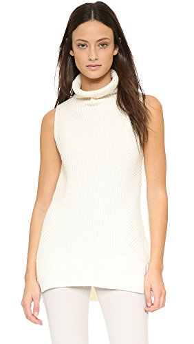 Vince Cashmere Ribbed Turtleneck (Vince Women's Sleeveless Turtleneck Sweater, Off White, Large)