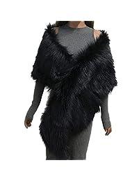 Forart Women Warm Coat Faux Fur Shawl Wrap Stole Shrug Bridal Wedding Poncho Cape