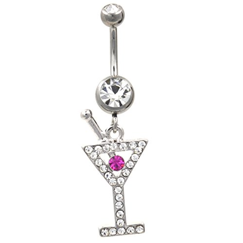 Happy Hour Fancy Martini Glass Clear & Pink Gems Belly Button - Ring Belly Glass Dangle Martini