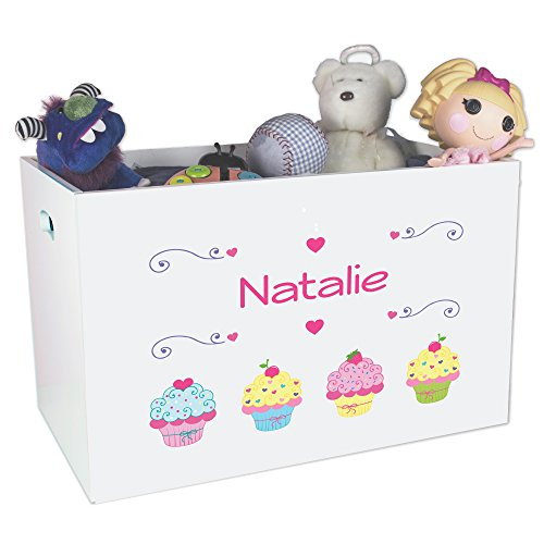 (Personalized Cupcake Childrens Nursery White Open Toy Box)