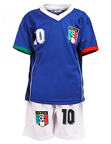 24brands - Jungen Fußball Set 2 Teilig Trainings Trikot Deutschland Italien Brasilien Spanien Türkei Schweiz Ländertrikot - 2630, Größe:152;Farbe:Italien