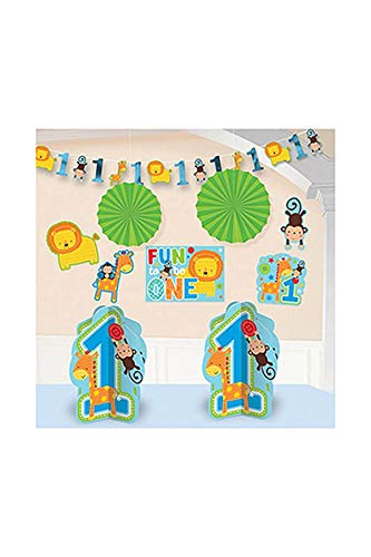 Wild Animals Fun Kit - Amscan One Wild Boy 1st Birthday Room Decorating Kit, Large, Blue/Green
