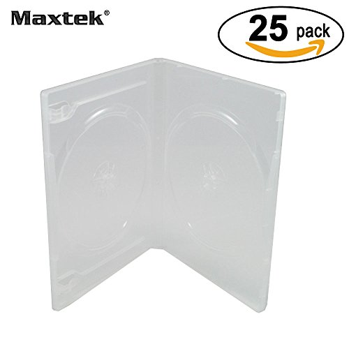 Maxtek 14mm Clear Standard Double Capacity DVD Case with Outter Clear Sleeve, 25 pieces pack (Double Disc Dvd Case)