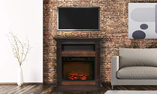 - Cambridge CAM3437-1WAL Sienna 34 In. Electric Fireplace w/ 1500W Log Insert and Walnut Mantel