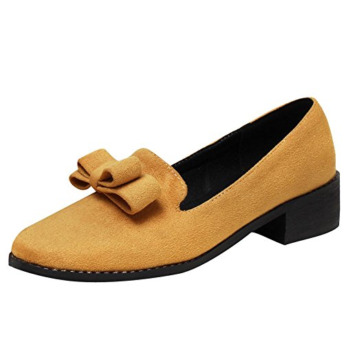 Carolbar Women's Charm Solid Color Mid Heel Bow Court Shoes Yellow iWsylp