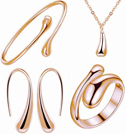 NYKKOLA 925 Sterling Silver Necklace Earring Ring Bangle Set for 4 Pcs