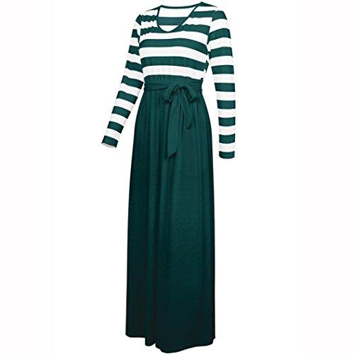 Casual Spiaggia lunga Evening Bandage Pocket line A Striped Abito Maniche Slim elegante Chic Adeshop Army Pure Bohemian Colore Green S A 2xl Donna lunghe Gonna Taglia wOzqXH8