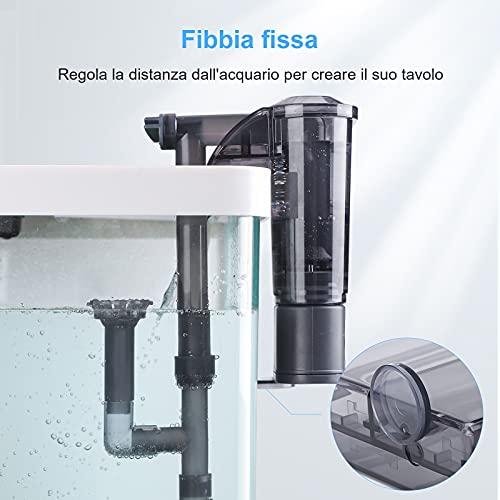 AKKEE Filtro Acquario, Sospensione a Cascata, Filtro Acquario a Parete, Pompa di Ossigeno 260 L/H, Filtro Esterno per Acquario, Adatto per Acquario da 20L ~ 60L (4,2W)