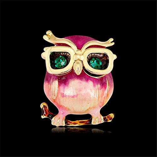 Pink Owl Crystal Brooch Pin Women Clothes Jewelry Valentines Day Mother