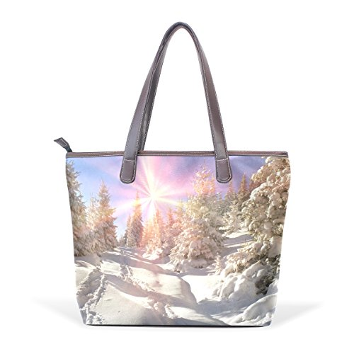 Coosun Frauen Bäume im Winter Pu Leder große Einkaufstasche Griff Umhängetasche