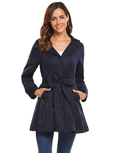 - Bifast Women's Classic Double-Breasted Belted Trench Coat DBL M