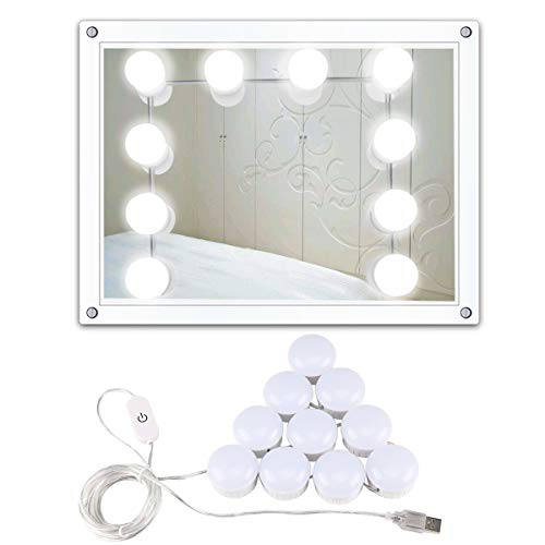 Hollywood Style LED Light USB Vanity Mirror Light Makeup Mirror Lights Kit with 10 Dimmable Light Bulbs for Makeup, Dressing, Decoration, ()