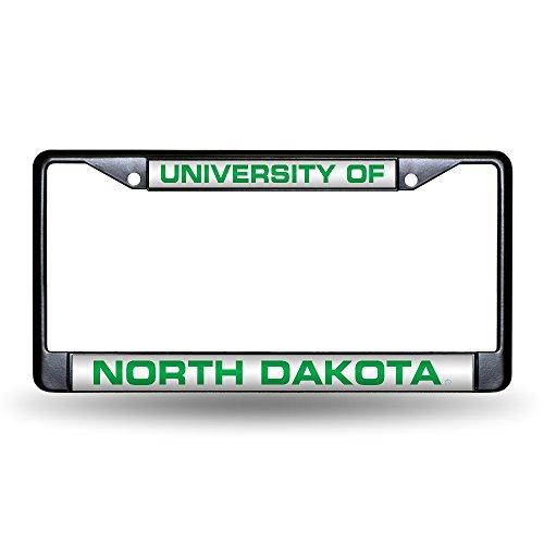 North Dakota Fighting Sioux Laser Black License Plate Frame]()