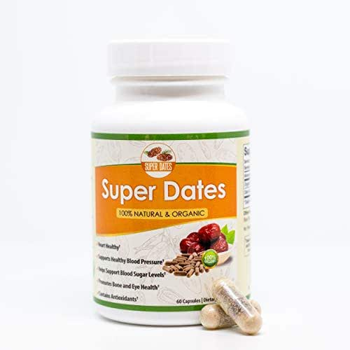 Super Dates Organic All Natural Date Fruit/Date Seed Supplement-Natural Antioxidants, Heart Healthy, Helps Boost Brain and Eye Health-Promotes Bone Health-Helps Maintain Healthy Blood Sugar Levels