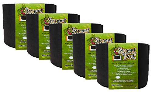 Smart Pot Soft-Sided Fabric Garden Plant Container Aeration Planter Pots, 7 gallon, 5 Pack, (Smart Pot)
