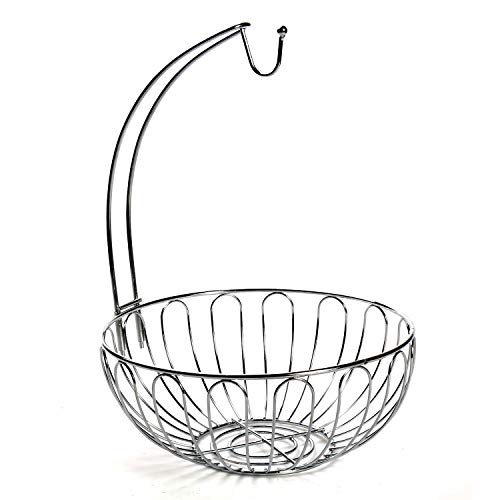 Home District Wire Fruit Basket with Banana Hanger - Countertop Food Bowl