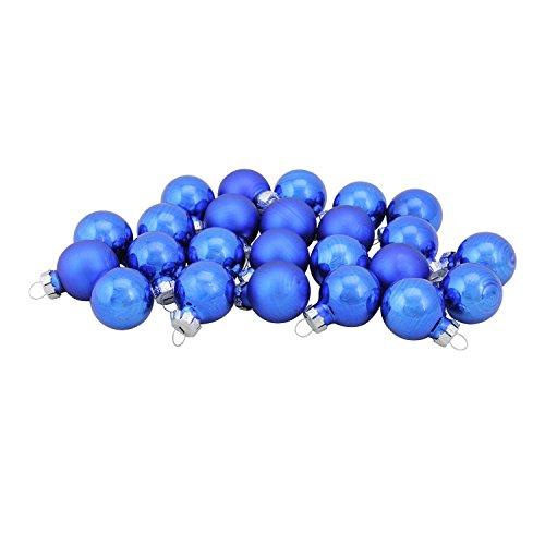Northlight 24-Piece Shiny and Matte Royal Blue Glass Ball Christmas Ornament Set 1
