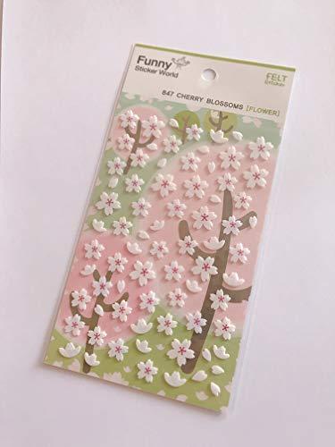 (CUTE CHERRY BLOSSOMS Sakura FELT STICKERS Flowers Kawaii Japanese Korean Sheet Craft Scrapbook)
