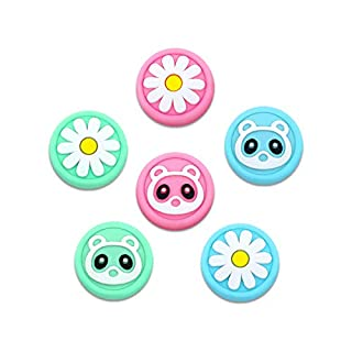 6amLifestyle Thumb Grip Caps for Nintendo Switch & Lite 6 Pack Raccoon Flower Cute Design Soft Silicone Joystick Cover Compatible with Switch Joy-Con (Pink& Blue& Green)