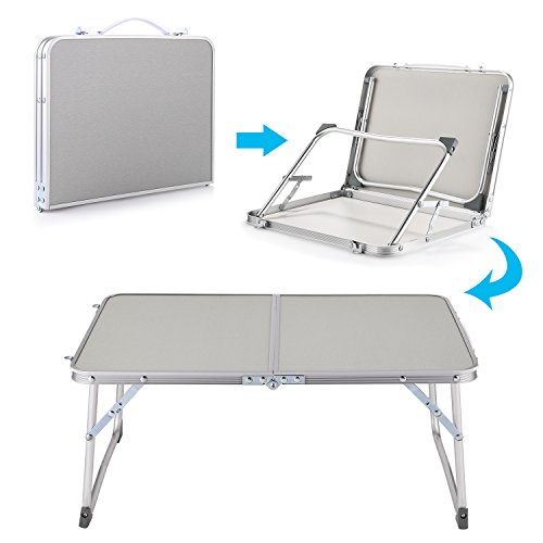 Hindom Aluminum Portable Folding Utility Table with Carrying Handle Portable Patio Table for Garden Party Camping Picnic(US Stock) (Gray) by Hindom